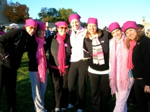THe Pinky Pie team decked out in pink hats and scarves