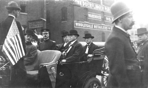 The president during his 1909 visit to La Crosse is shown fourth from left. Photo from La Crosse Public Library Archives.
